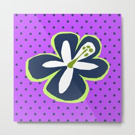 Pokii Hawaiian Hibiscus Flower and Patchwork Designs Metal Print
