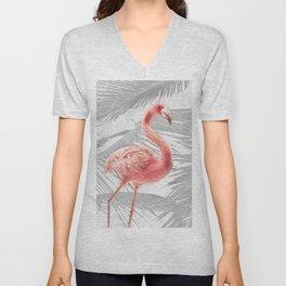 Grey + Pink Tropical Flamingo Unisex V-Neck