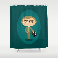 woody allen Shower Curtains featuring Woody Allen by Sombras Blancas Art & Design