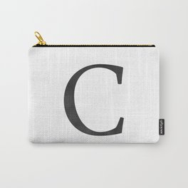 Letter C Initial Monogram Black and White Carry-All Pouch