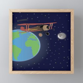 Red Biplane in Outer Space Framed Mini Art Print
