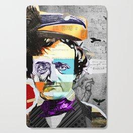 Edgar Allan Poe Collage Portrait by Michel Keck Cutting Board