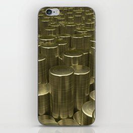 Pattern of brushed gold cylinders iPhone Skin