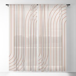 Minimal Line Curvature - Coral II Sheer Curtain