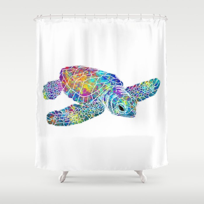 Colorful Sea Turtle Shower Curtain By Maryedenoa