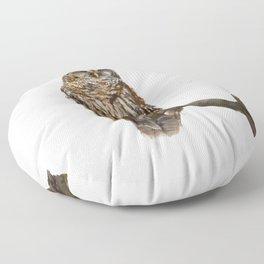 Digital Painting of  Barred Owl perching Floor Pillow
