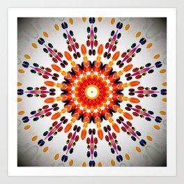 Orange Decorative Mandala Design Art Print