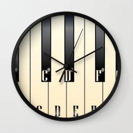 Piano Keys Note Names Wall Clock