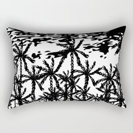 Black white abstract tropical palm tree art Rectangular Pillow