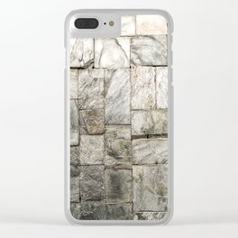 Grey Cold Stone Masonry Wall Clear iPhone Case