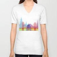 copenhagen V-neck T-shirts featuring Copenhagen skyline pop by Paulrommer