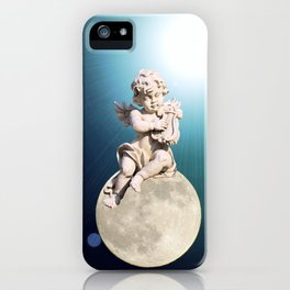 Child Angel Cherub Playing a Lyre on Moon A259 iPhone Case