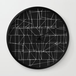 Graphic White Lines with Black Background Wall Clock