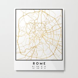 ROME ITALY CITY STREET MAP ART Metal Print