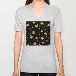 Gold Star Scatter Pattern on Midnight Black Sky Unisex V-Neck
