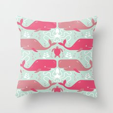 Whales & friends Throw Pillow