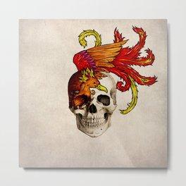 Skull and Phoenix Metal Print