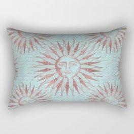 Ancient Sun Face Copper And Teal Rectangular Pillow