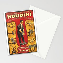 Houdini, vintage theater poster, color Stationery Cards