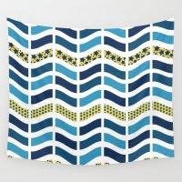 herringbone Wall Tapestries featuring Wavy Herringbone by DAW Surface Design