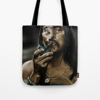 danny haas Tote Bags featuring Danny Trejo by Duke78