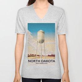 North Dakota Travel poster Unisex V-Neck