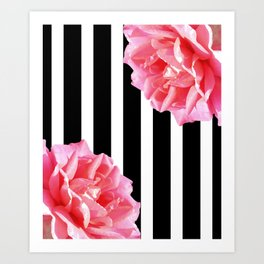Pink roses on black and white stripes Art Print