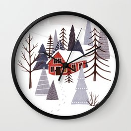 Winter Landscape with Red House Illustration Wall Clock