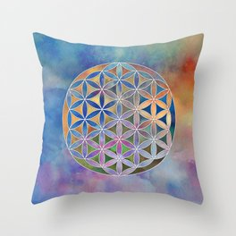 The Flower of Life in the Sky Throw Pillow