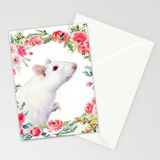 White Rat with Flowers Watercolor Floral Pattern Animal Stationery Cards