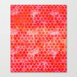 Watercolor Pink Flamingo Tropical Geometric Pattern Canvas Print