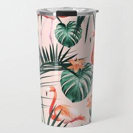 Tropical Flamingo Floral Summer Pattern #1 #tropical #decor #art #society6 Travel Mug