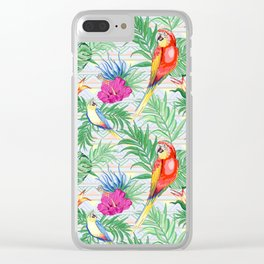 Macaws Parrots Exotic Birds on Tropical Flowers and Leaves Clear iPhone Case