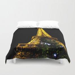 Eiffel Tower lit up at night, Paris Duvet Cover