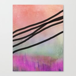 Pink Abstract with Lines - Pastel Canvas Print