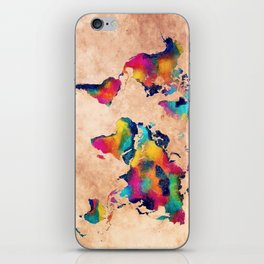 world map watercolor 5 iPhone Skin