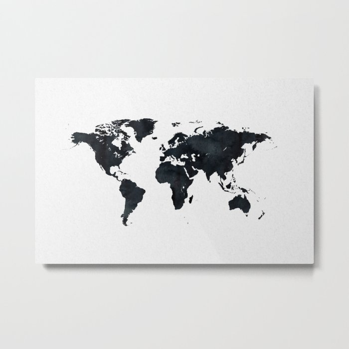World Map in Black and White Ink on Paper Metal Print