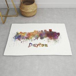 Dayton skyline in watercolor Rug