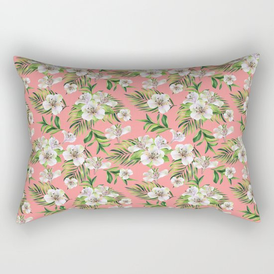 White flowers on a pink background Rectangular Pillow