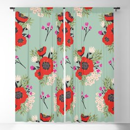 red peonies bouquet pattern Blackout Curtain