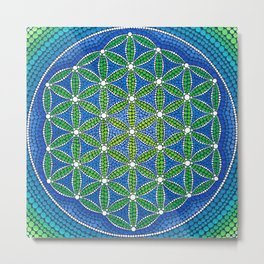 Flower of Life- Ocean Colours Metal Print