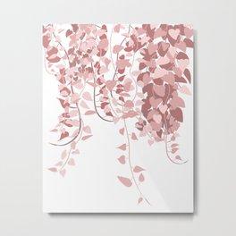 Pink Heart Pothos Vines Plant Illustration Metal Print
