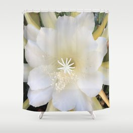 White Epiphyte Shower Curtain