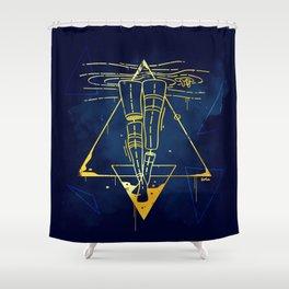 Midnight Bath - Blue/Gold pallette Shower Curtain
