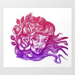 cheeks and roses Art Print