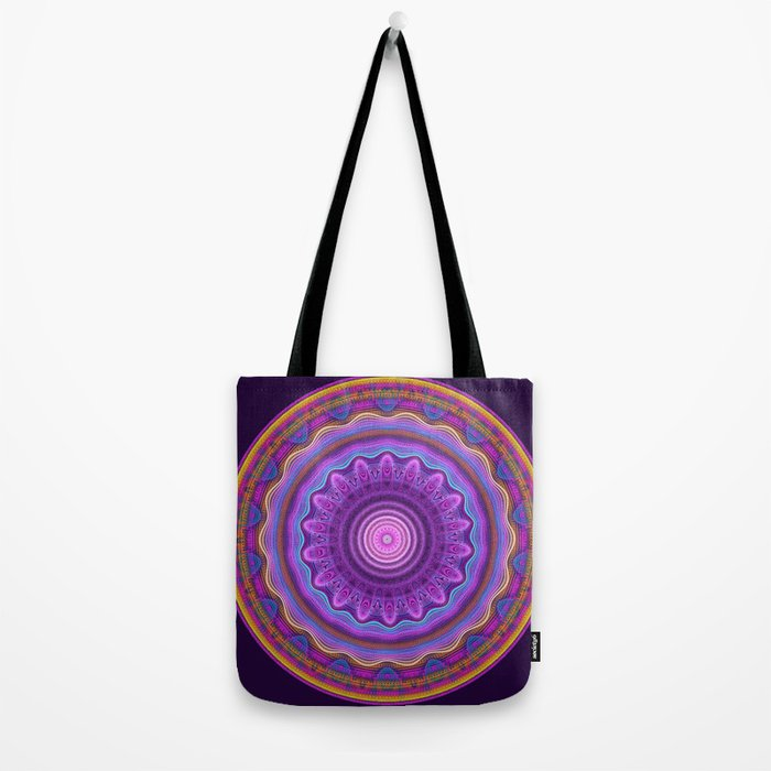 Colourful mandala with waves and tribal patterns Tote Bag