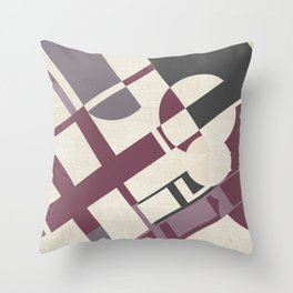 Space Probe Abstract in Mulberry, Aubergine, Mauve and Grey Throw Pillow