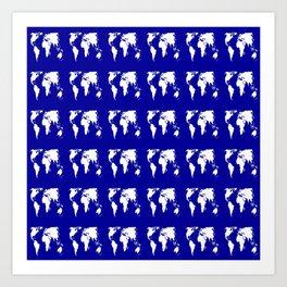 World map 3 blue Art Print