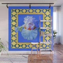 BLUISH-WHITE PASTEL IRIS FLOWER BOTANICAL ART Wall Mural