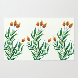 Abstract Green Plant With Orange Buds Rug